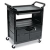 RCP345700BLA:  Rubbermaid® Commercial Utility Cart with Locking Doors