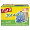 CLO78542BX:  Glad® Tall Kitchen Blue Recycling Bags
