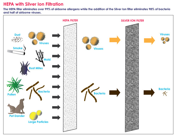 The Silver HEPA filter has been proven to reduce up to 50  of airborne  viruses that cause the flu in independent lab testing and 98  of bacteria. Alen A350 Replacement Silver HEPA Air Filter