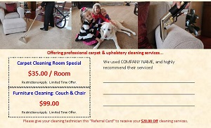 carpet cleaning referral cards
