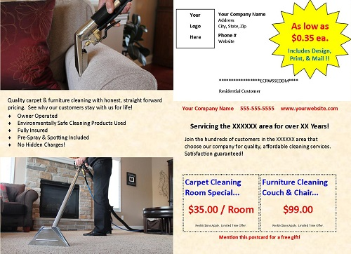 carpet cleaning postcard printing mailing