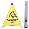 RCP9S00YEL:  Rubbermaid® Commercial Multilingual Pop-Up Safety Cone