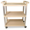 RCP9T6571BG:  Rubbermaid® Commercial Three-Shelf Service Cart with Brushed Aluminum Uprights