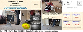 PC-CUAT05:  Postcard - Carpet, Upholstery, Air Duct, and Tile & Grout Cleaning