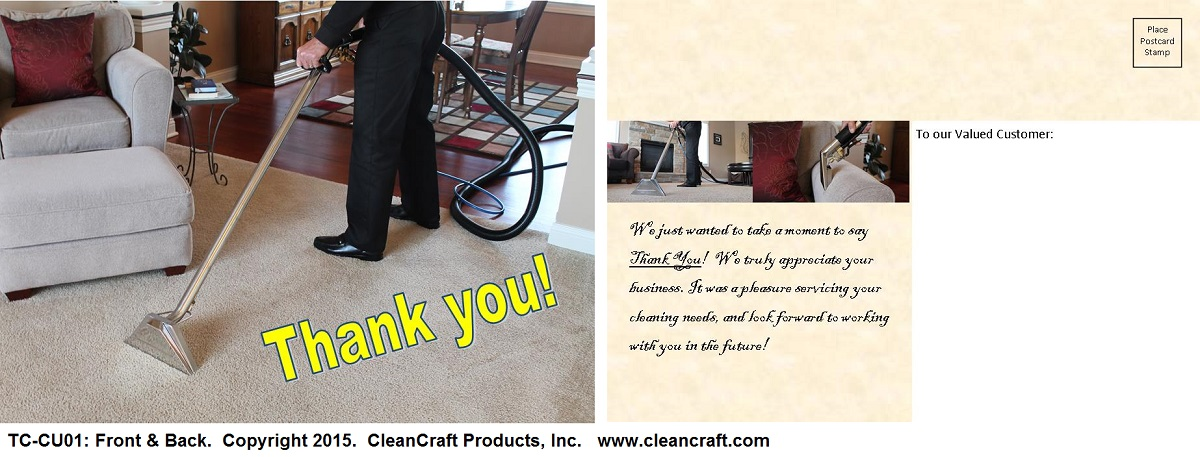 carpet cleaning thank you postcards